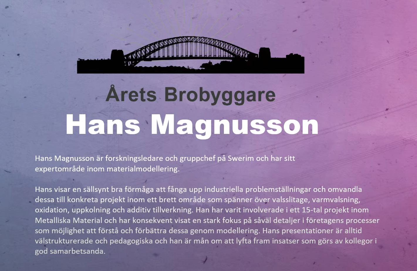 Årets brobyggare, Hans Magnusson