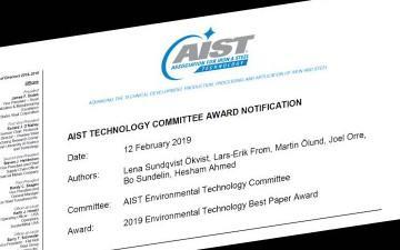 AIST best paper award har tilldelats Swerims medarbetare.